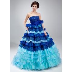 Duchesse-Linie Trägerlos Hof-schleppe Organza Spitze Quinceañera Kleid (Kleid für die Geburtstagsfeier) mit Perlen verziert Gestufte Rüschen