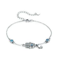 Platinado Extensor de pulseira Cadeia Delicada Pulseiras de charme - Presentes Do Valentim Para Ela