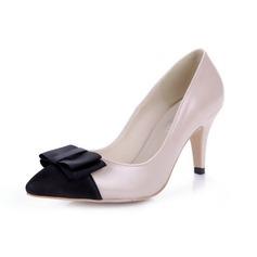 Kunstleder Spule Absatz Absatzschuhe Geschlossene Zehe mit Des Bowknot Schuhe