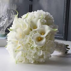 Elegant Round Satin Bridal Bouquets/Bridesmaid Bouquets (Sold in a single piece) - Bridal Bouquets