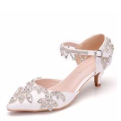 Women's Leatherette Low Heel Closed Toe With Tassel Crystal