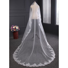 One-tier Lace Applique Edge Cathedral Bridal Veils With Lace (006114048)