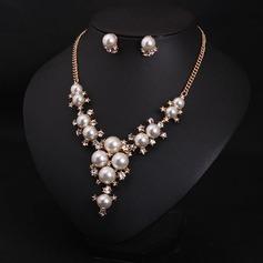 Nice Legering Rhinsten Imiteret Pearl med Imiteret Pearl Ladies ' Smykke Sæt (137108092)