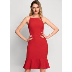 Syrena Kwadratowy Dekolt Do Kolan Elastyczna Krepa Sukienki Koktajlowe