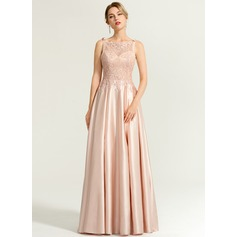 A-Line/Princess Square Neckline Floor-Length Satin Evening Dress With Beading Sequins Bow(s)