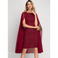 Sheath/Column Scoop Neck Knee-Length Lace Cocktail Dress (016212841)