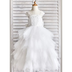 Ball Gown Floor-length Flower Girl Dress - Tulle/Lace/Sequined Sleeveless Straps With Bow(s)/Rhinestone/V Back