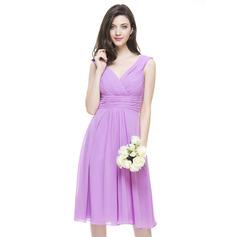 Vestidos princesa/ Formato A Decote V Coquetel Tecido de seda Vestido de madrinha com Pregueado
