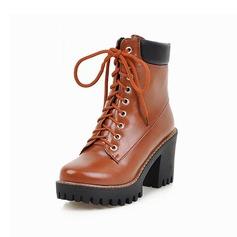 Couro Salto robusto Plataforma Bota no tornozelo com Alça trançada Divisão separada sapatos