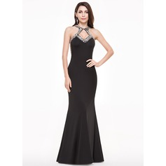 Sheath/Column Scoop Neck Floor-Length Jersey Prom Dresses With Beading