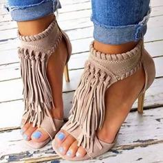 Women's Suede Stiletto Heel Sandals With Zipper Tassel shoes