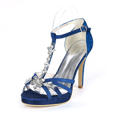 Women's Sparkling Glitter Stiletto Heel Peep Toe Platform Pumps Sandals With Rhinestone
