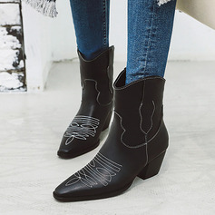 Vrouwen Microfiber leer PU Cone Heel Pumps Laarzen Half-Kuit Laarzen met Dier Afdrukken Gesplitste Stof schoenen (088221272)