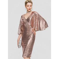 Sheath/Column V-neck Knee-Length Sequined Cocktail Dress