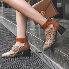 Frauen Kunstleder Stämmiger Absatz Stiefelette mit Reißverschluss Schuhe