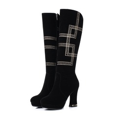 De mujer Ante Tacón ancho Salón Botas a la rodilla con Tacones con joya Otros zapatos