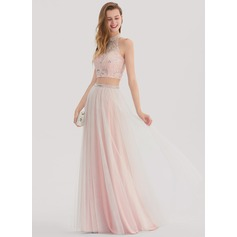 A-Line/Princess Scoop Neck Floor-Length Tulle Prom Dress With Beading (018138330)