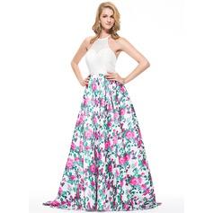 Vestidos princesa/ Formato A Cabresto Sweep/Brush trem Renda Vestido de baile