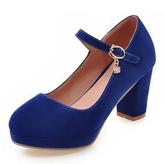 Vrouwen Suede Chunky Heel Pumps Plateau Closed Toe met Vastrijgen schoenen