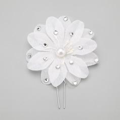 Flor em forma Strass/Pérolas de imitação Grampos de cabelo (Vendido em uma única peça)