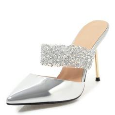Kvinnor PU Stilettklack Sandaler Pumps Slingbacks Tofflor med Strass skor