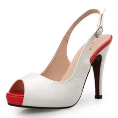 De mujer Cuero Tacón stilettos Sandalias Salón Encaje Solo correa con Hebilla Estampado de animales zapatos