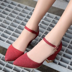 Donna Glitter scintillanti Tacco spesso Sandalo Stiletto Punta chiusa con Glitter scintillanti scarpe