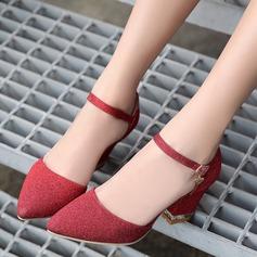 De mujer Brillo Chispeante Tacón ancho Sandalias Salón Cerrados con Brillo Chispeante zapatos