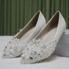 Women's Leatherette Flat Heel Closed Toe Flats With Imitation Pearl Rhinestone Stitching Lace