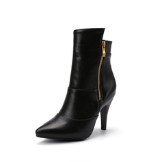 Women's Leatherette Stiletto Heel Ankle Boots With Ruched Zipper shoes (088096954)