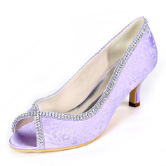 Women's Lace Stiletto Heel Peep Toe Pumps With Rhinestone