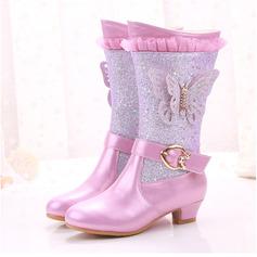 Fille de Bottes mi-mollets similicuir Chaussures de fille de fleur avec Une fleur Cristal