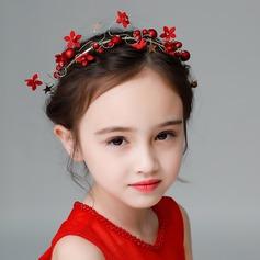 Barn Mode Strass/Legering/Fauxen Pärla/Siden blomma Tiaror med Strass/Venetianska Pärla (Säljs i ett enda stycke)