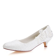 Women's Lace Silk Like Satin Kitten Heel Closed Toe With Sequin Stitching Lace Pearl (047182279)