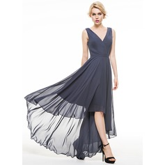 A-Line/Princess V-neck Asymmetrical Chiffon Evening Dress With Ruffle (017086909)