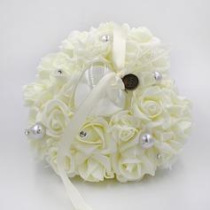 Elegante Rose Ring Kissen in PE mit Strasssteine/Faux-Perlen