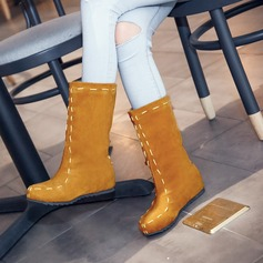 Women's Suede Flat Heel Flats Closed Toe Boots Mid-Calf Boots With Others shoes