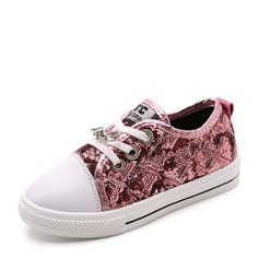 Girl's Closed Toe Canvas Leatherette Flat Heel Flats Sneakers & Athletic With Sparkling Glitter Lace-up
