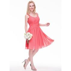 Vestidos princesa/ Formato A Decote redondo Coquetel De chiffon Vestido de madrinha com Pregueado