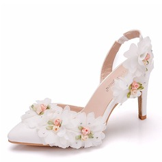 Women's Leatherette Spool Heel Pumps Slingbacks With Flower