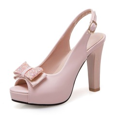 De mujer Cuero Tacón ancho Sandalias Salón Plataforma Encaje Solo correa con Bowknot Lentejuelas zapatos (085199578)