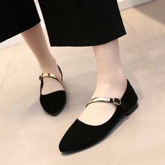 Women's Suede Flat Heel Flats Closed Toe Mary Jane With Sequin shoes