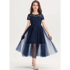 A-Line Scoop Neck Tea-Length Tulle Lace Junior Bridesmaid Dress (009217811)