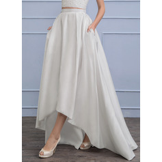 Asymmetrical Taffeta Wedding Dress With Pockets