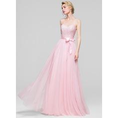 Corte A/Princesa Novio Hasta el suelo Tul Vestido de baile de promoción con Lazo(s) (018112719)