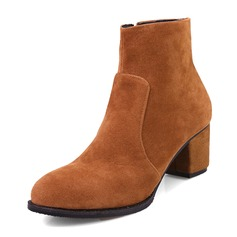 Frauen Veloursleder Stöckel Absatz Absatzschuhe Geschlossene Zehe Stiefel Stiefelette Stiefel-Wadenlang mit Reißverschluss Schuhe