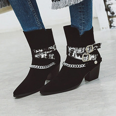 Women's PU Chunky Heel Ankle Boots Martin Boots With Buckle Chain shoes