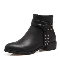 Women's PU Low Heel Boots Ankle Boots With Rivet Buckle Zipper shoes