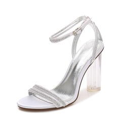 Women's Silk Like Satin Chunky Heel Peep Toe Pumps Sandals MaryJane With Buckle