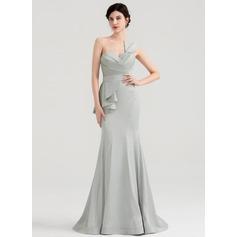 Trumpet/Mermaid Sweetheart Sweep Train Satin Evening Dress With Ruffle